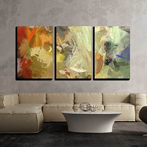 "Wall26 - 3 Piece Canvas Wall Art - Art Abstract Acrylic Background with Colorful Blots - Modern Home Decor Stretched and Framed Ready to Hang - 24""x36\""x3 Panels"