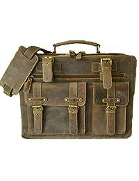 16 Inch Leather Laptop Bag For Men, Vintage Brown Cross-body Messenger Bag Briefcase Shoulder Satchel