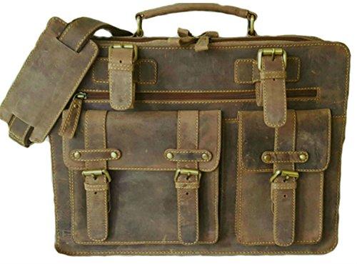 16 inch Leather Messenger Laptop Bag Vintage Briefcase Shoulder Satchel for Men by ECOCRAFTWORLD