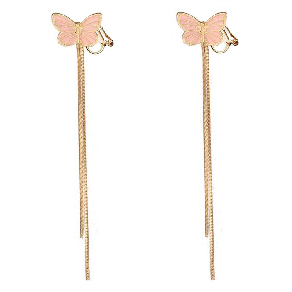Soft Rubber Back Clip on Dangle Earring Long Tassel Butterfly for Women Girls Kids Jewelry Gift Box