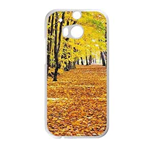 Personalized Cell Phone Case For HTC M8,charming yellow forest and fallen leaves ground beauty autumn scene