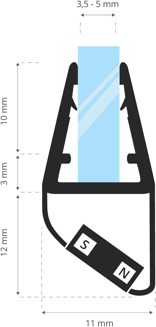 4 mm STEIGNER Joint Magn/étique pour les Vitres d/'une /Épaisseur 3,5 mm 5 mm UKM03 Joint de Remplacement 1 Pi/èce 186 cm
