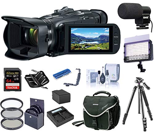 Canon VIXIA HF G50 4K UHD Camcorder, Bundle Kit, LED Light + Mic + Tripod + Extra Battery + Dual Charger + Camera Bag + Filter Kit + 64GB SD Card +Dual Shoe Bracket + SD Card Case + Cleaning Kit