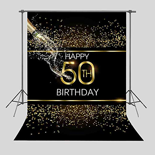 Qian 5X7FT Black Abstract Sequin Backdrops Gold 50th