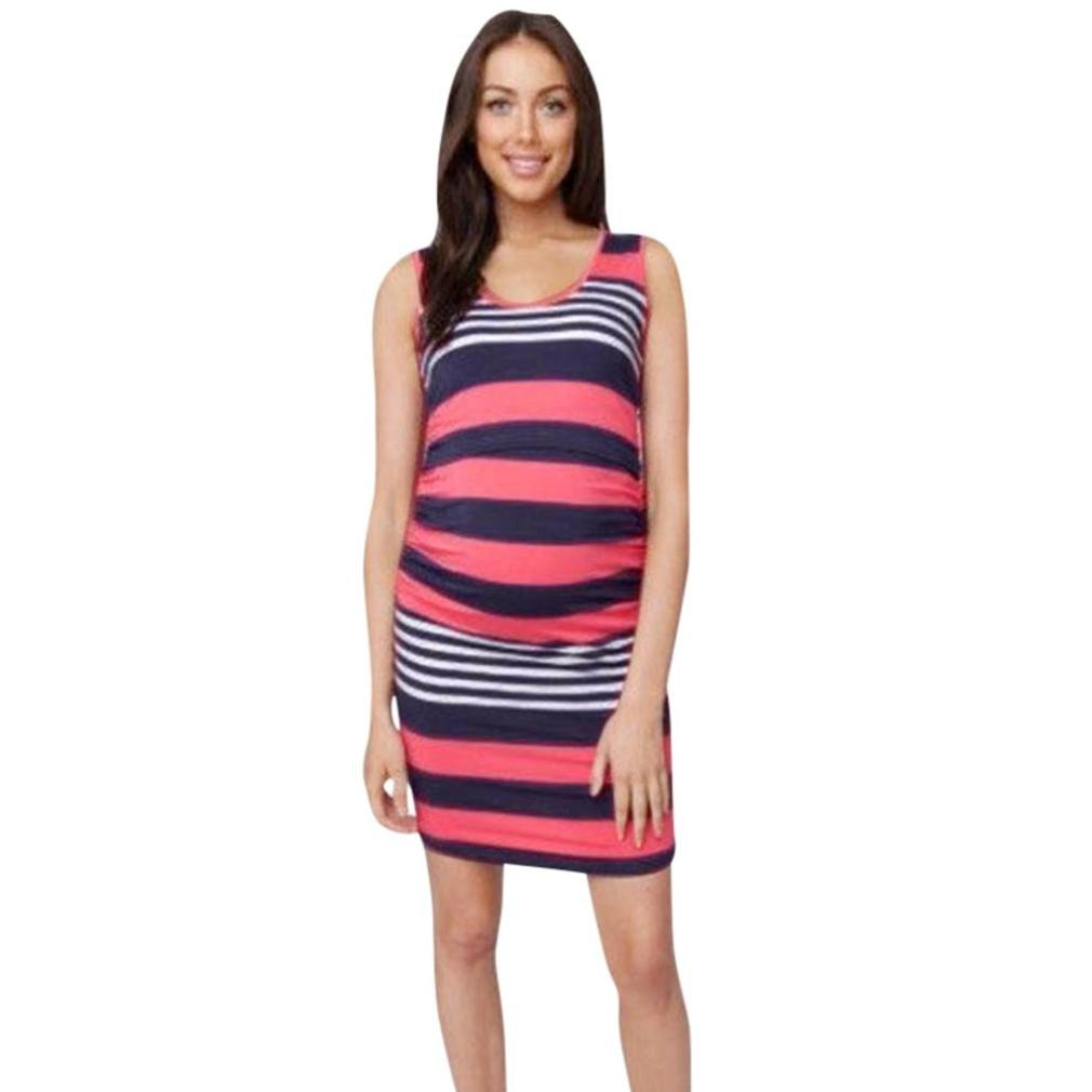 b66ae58f21e Amazon.com : Women's Maternity Summer Casual Bodycon Striped Sleeveless  Tank Scoop Neck Baby Shower Fitted Dress for Pregnant Women (XL, Red) :  Beauty