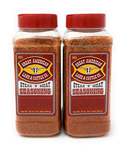 Great American Land & Cattle Steak N' Meat Seasoning 32oz Container (Pack of 2)