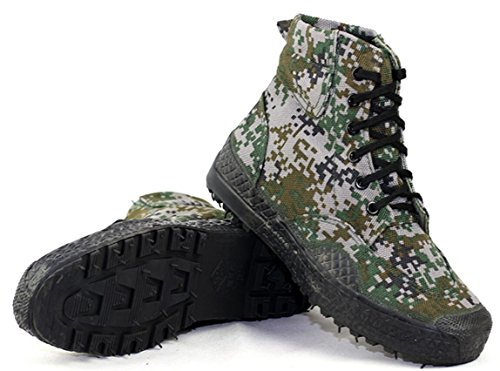 ACE SHOCK Army Shoes Men Camouflage, Antiskid Lace up Canvas Shoe Work Use High-top Military Boots 3 Colors Size 6-9