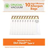 10 Highly Durable Dirt Devil Type U Allergen Filtration Vacuum Bags; Compare to Dirt Devil Part Nos. 3920750001, 3920047001, 3920048001; Designed & Engineered by Think Crucial