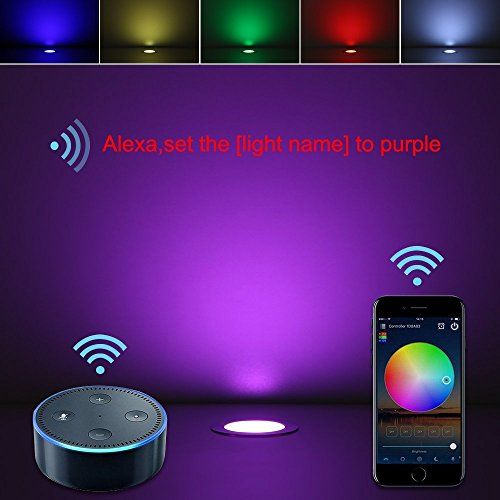 LED Deck Lights Kit, 10pcs Φ1.85'' WiFi Wireless Smart Phone Control Low Voltage Recessed RGB Deck Lamp In-ground Lighting Waterproof Outdoor Yard Path Stair Landscape Decor, Fit for Alexa,Google Home by Sumaote (Image #3)
