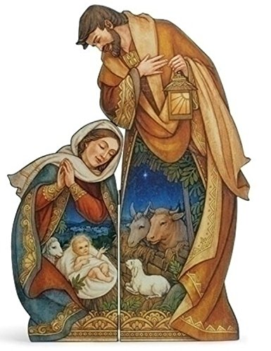 "Diva At Home 33"" Holy Family with Baby Die Cut Decorative Folding Screen with Animals by Diva At Home"