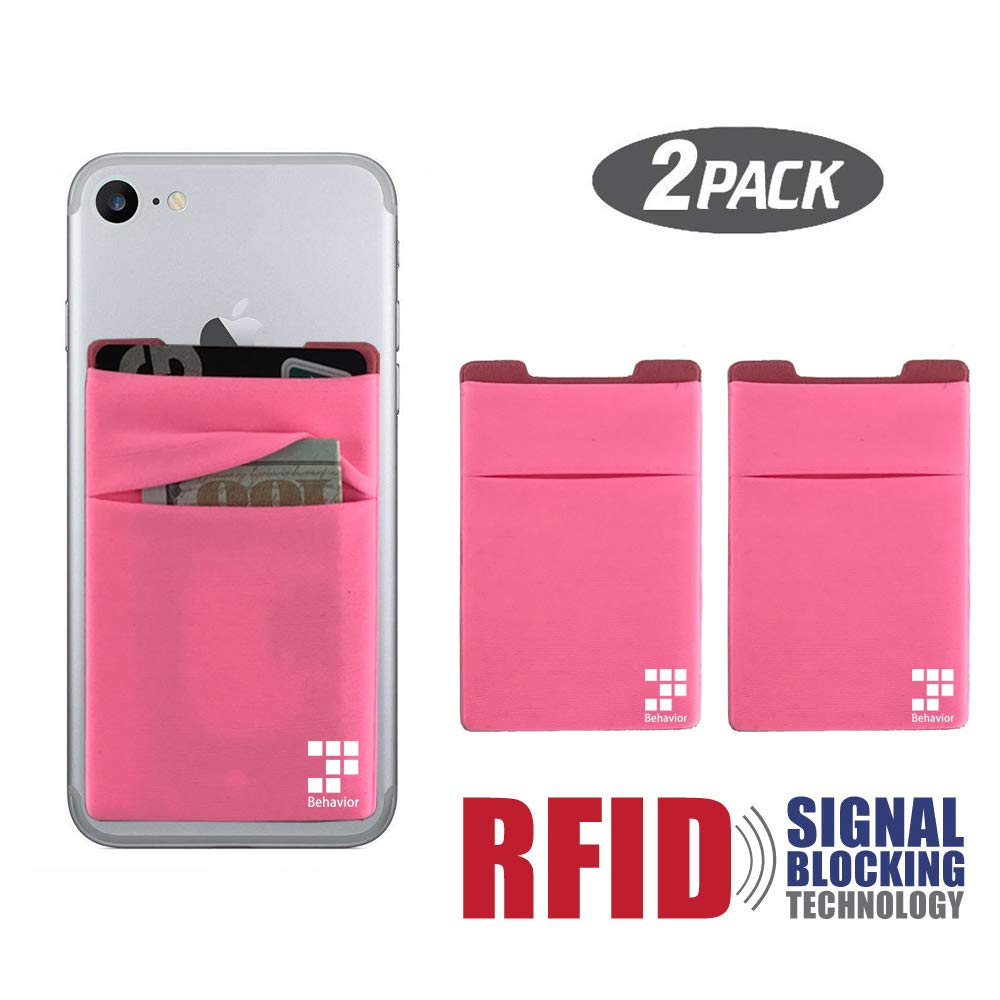 Black Phone Card Wallet 2pc Ultra-slim Self Adhesive Double Secure RFID-Blocking Phone Pocket,Credit Card Holder Sleeves Phone wallet sticker For All Smartphones