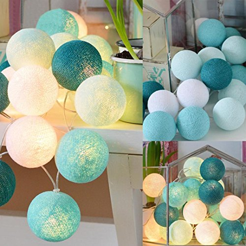 cotton ball string lights blue - 7