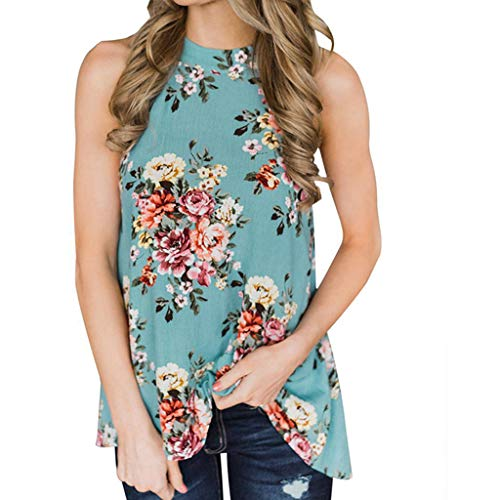 Pongfunsy Summer Print Vest for Women 2019 Flowers Hanging Neck Top Laies Loose T-Shirt Casual Blouse (M, Blue)
