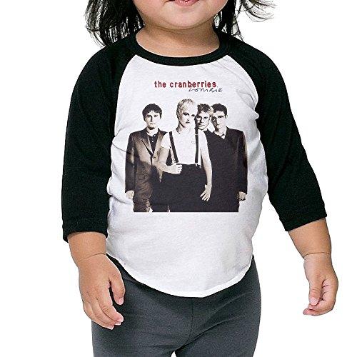 Toddler The Cranberries Band Geek 100% Cotton 3/4 Sleeve Athletic Baseball Raglan Tee Shirts Black US Size 4 Toddler