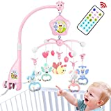 caterbee Baby Mobile for Crib with Music, Crib Mobile for Girls kit with Lights and Musical,Stand,Holder,Remote and Toys for Pack and Play,Stroller Accessories. Material:ABS+Plastic (Pink-Bee)