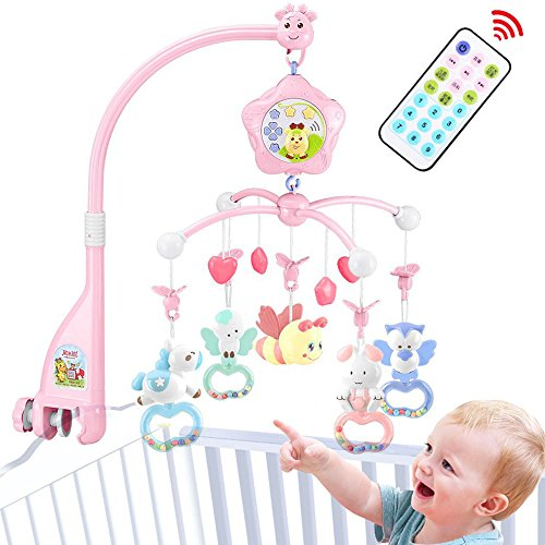 Baby mobiles for Crib Musical, Baby Plush Crib Mobile with Lights and Music,Remote and Toy for Pack and Play. Material:ABS+Plastic (Pink-Bee)