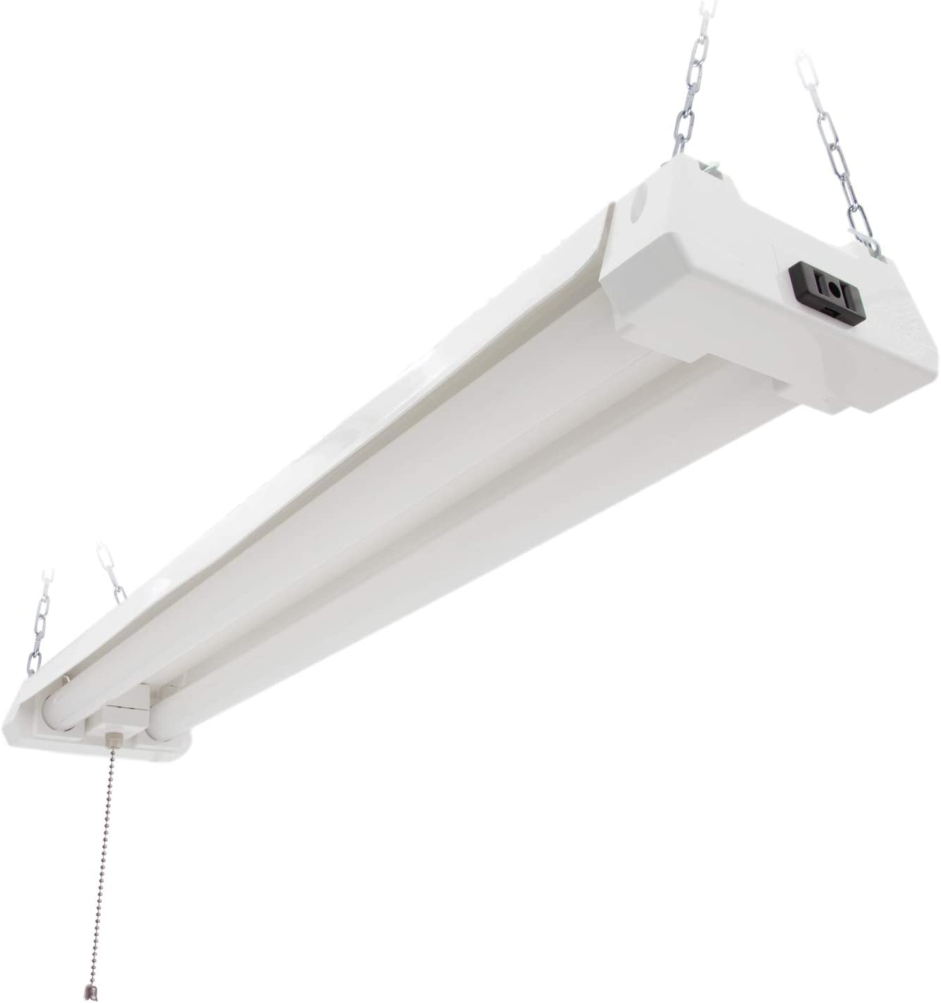 Maxxima 2 ft Hardware Included Linkable Plug in LED Garage Light Frosted Lens 5000K Daylight 2000 Lumens 20 Watt Utility LED Shop Light Fixture Pull Chain