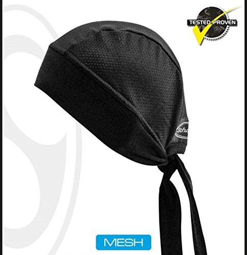 Biker-Head-Wrap-Moisture-Wicking-Durag-Schampa-Mesh-Stretch-Z-wrap-Black-One-Size