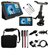 "10 Accessories for Samsung Galaxy Note 10.1 N8000:Skque Black Porfolio Leather Case Cover Stand + Clear Screen Protector + 3.5mm Stereo Headset + Car Mount Holder + 3x Stylus Pen + USB Charging/Sync Transfer Data Cable + 10.2"" Memory Foam Bag/Case + Car/Wall Charger with Free Fish Bone Holder"