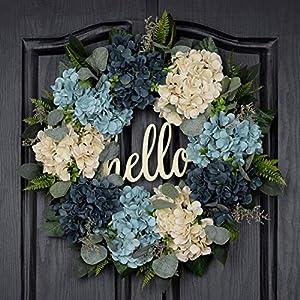 QUNWREATH Spring Wreath for Front Door Summer Wreath Handmade 18 Inch White Blue Hydrangea Wreath Hello Wreath Farmhouse Wreath Grapevine Wreath