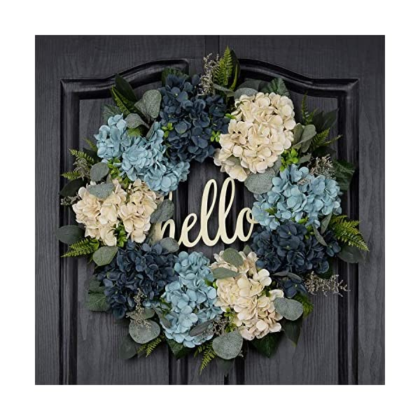 QUNWREATH Handmade Floral 18 inch Blue White Hydrangea Series Wreath,Gifts Package,Free Hooks,Spring Front Door Rustic Wreath,Farmhouse Wreath,Grapevine Wreath,Light up Wreath,Everyday Wreath,QUNW72