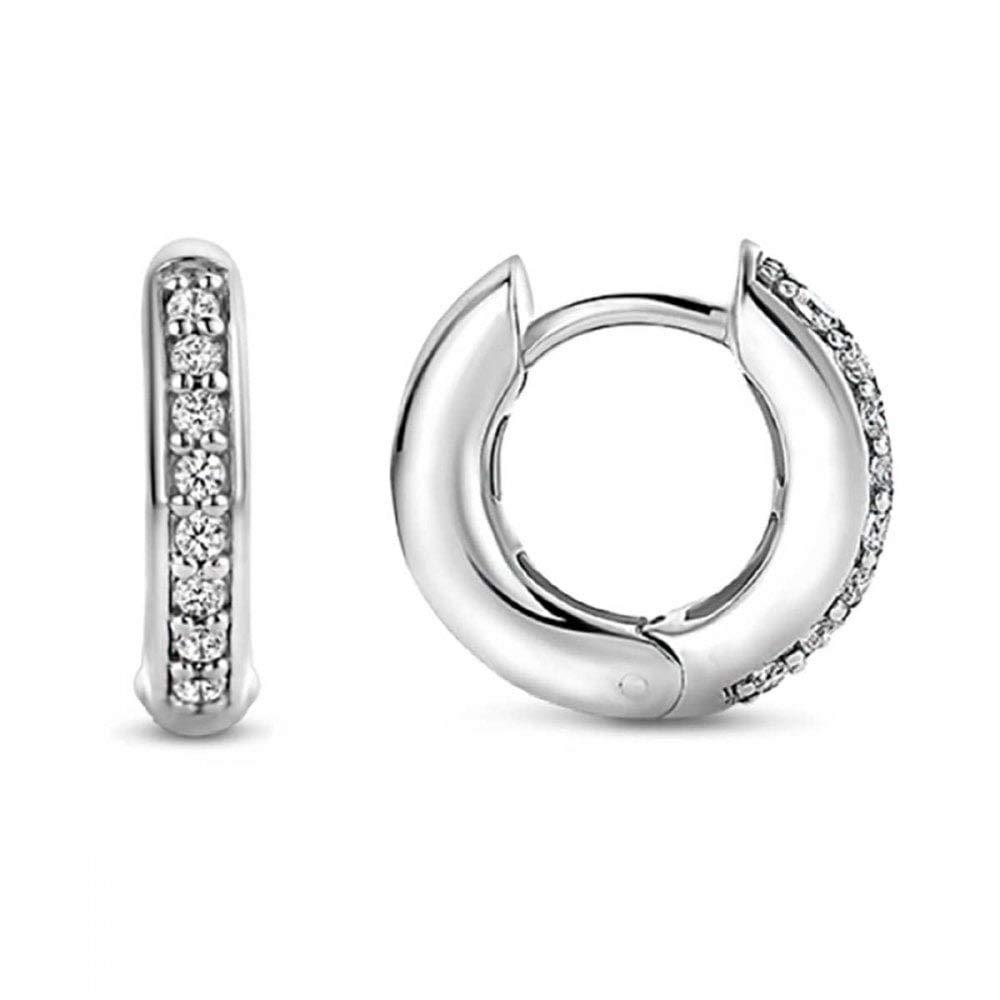 Healthy Clubs Jewellers 925 Sterling Silver Rhinestones Hoop Stud Earrings for Women (1061 Silver)