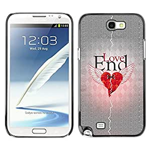 Qstar Arte & diseño plástico duro Fundas Cover Cubre Hard Case Cover para SAMSUNG Galaxy Note 2 II / N7100 ( Love Heartbreak Quote Broken Heart Wings)