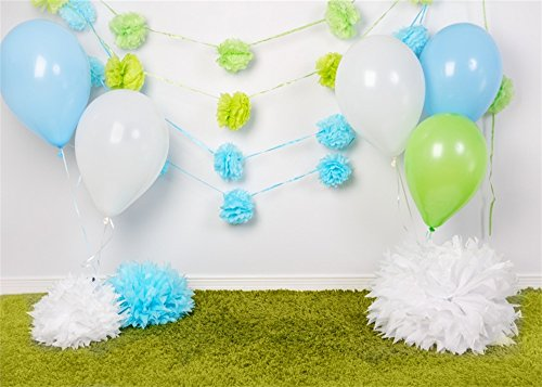 Leowefowa 7X5FT Girl's 1st Birthday Backdrop Colorful Balloon Paper Flowers Backdrops for Photography White Curtain Green Grassland Vinyl Photo Background Kids Boys Birthday Party Studio Props by Leowefowa