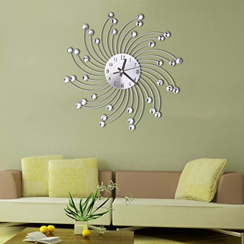 Sikye Home Office Dector, 3D Wall Clock Non-Ticking Clock,Metal Diamonds Flower Watch Modern Design