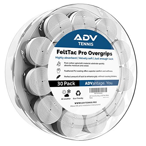 ADV Tennis Dry Overgrip – Remarkably Absorbent – Must Feel Velvety Comfort – Exclusive FeltTac Material (30 Pack, Pearl)