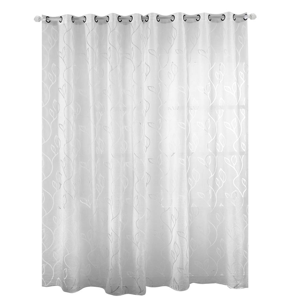 Enjoygoeu halbtra nsparent Gardine oesenschal voile Foglia modello di finestra siebung Schlaufe sciarpa Modern Deko sciarpa per salotto, bianco, 100 x 200 cm