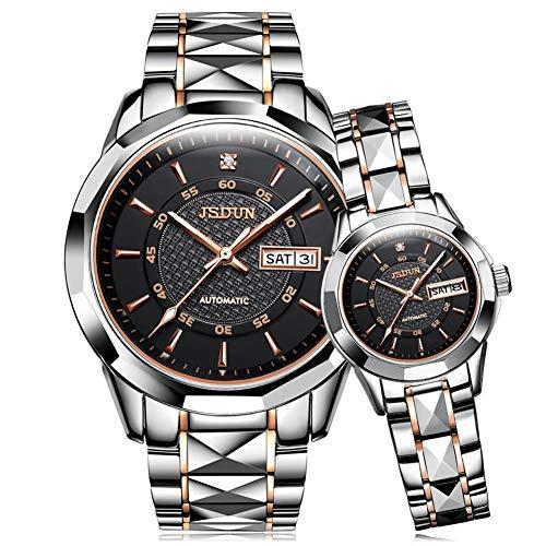 JSDUN His & Her Matching Set Tungsten Steel Waterproof & Calendar Auto Mechanical Couple Wrist Watches, Love Gift
