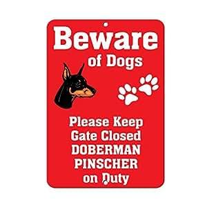 Doberman Pinscher perro cuidado de Fun Funny Sign regalo para las mujeres al aire libre Metal Sign de aluminio