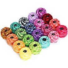 LE PAON100% Cotton Yarn Variegated Crochet Thread Balls 20 Balls Popular Rainbow Colors of Size 8 47.5 Yards Balls 950 Yards 100% Long Staple Cotton Mercerized Cotton