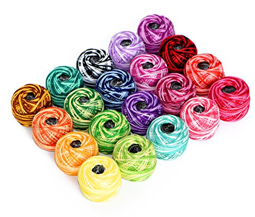 Cotton Yarn Variegated Crochet thread Balls 20 Balls Popular Rainbow Colors of Size 8 47.5 Yards Balls 950 Yards 100% long staple cotton mercerized cotton