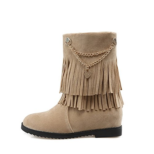 on Women's Toe Pull WeiPoot Heels Solid Closed Boots Imitated Kitten Suede Beige Round 6nxva