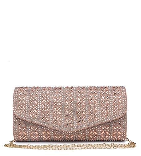 Envelope Diamante Purse Rose Handbag Glitter Gold Evening Bag Women's Clutch Ladies ME68033 Party 5XgzqFwFU