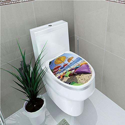 Toilet Custom Sticker,Balinese Decor,Pristine Beach Bathed by The Bali Sandy Seashore Daytime Umbrellas Pillows Leisure,Diversified Design,W12.6