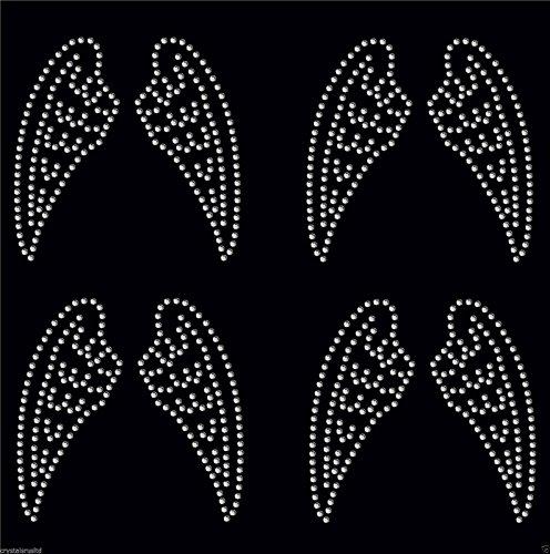 Clear 4x Small Angle Wing iron on Rhinestone Transfer crystal hotfix t-shirt transfer