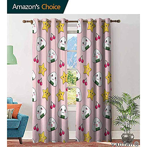 - Big datastore home Anime Curtain Set for Living Room,Happy Crying Cute Cartoon Rice Balls Cherries Stars Pattern on Stripes Art for Kids Youth Room, W84 x L96