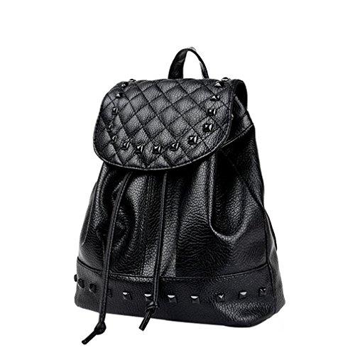 Rivet Pu Backpack Travel Bag Backpack Female College Student School Teenage Black Backpack Women Backpack Black