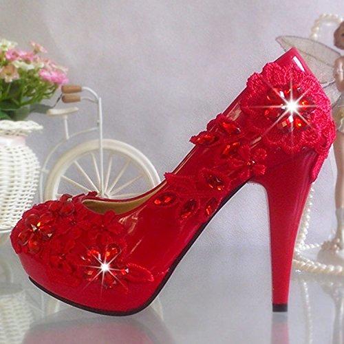 Rouge JINGXINSTORE Dentelle rouge pivoine chaussures de mariage avec de l'eau élevé Diamond plate-forme Chaussures de mariée Cristal Chaussures Perforhommece UK3.5