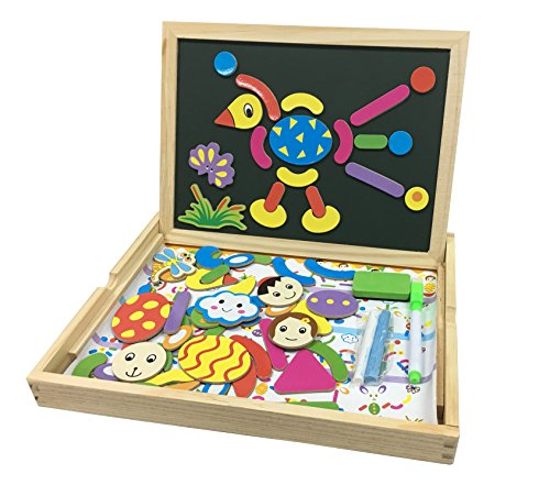 KanCai Wooden Magnetic Puzzle Kids Toys - Easel Double Side Dry Erase Board Puzzles Games for Boys Girls - Learning & Educational Game Toy for Kids (Lightweight Board Combination Write)