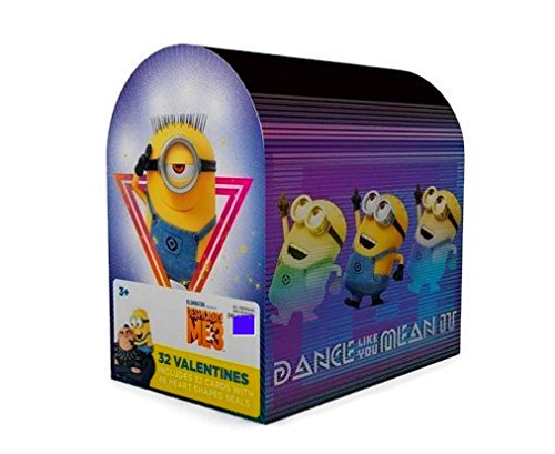 Kids Valentines Classroom Exchange Cards (Minions Despicable Me 3 Mailbox with 32 Cards and -