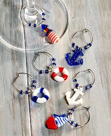Anchors Aweigh Tabletop Collection ( Set of 6 Wine Charms ) -