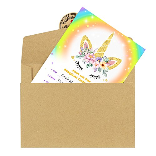 Aytai 20pcs Rainbow Unicorn Birthday Invitations with Envelopes + Thank You Tags, Party Invitation Cards for Kids Birthday Baby Shower Unicorn Party Supplies (Floral) by Aytai (Image #3)