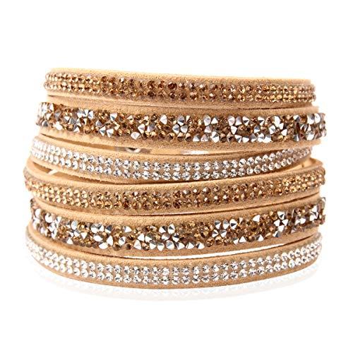RIAH FASHION Bohemian Faux Suede Leather Wrap Multi Layer Bracelet - Boho Wrist Adjustable Cuff Bangle Crystal Rhinestone/Metallic Bead/Natural Stone Embellishment (Crystal Mosaic - Khaki)