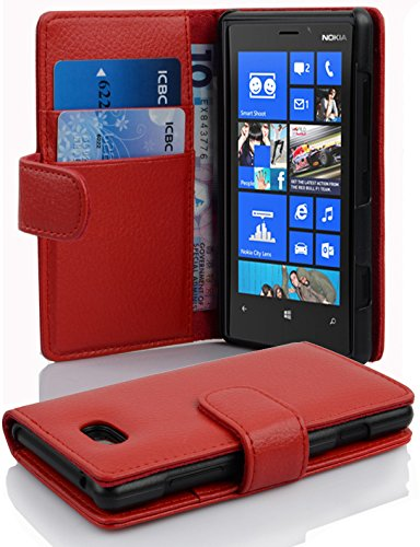 low priced eed20 77cf1 Cadorabo Case Works with Nokia Lumia 820 in Candy Apple RED (Design Book  Structure) – with 2 Card Slots – Wallet Case Etui Cover Pouch PU Leather ...