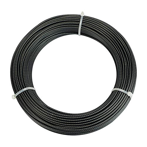 """Muzata Wire Rope Black Vinyl Coated Stainless Steel 1/8"""" Cable 330 Feet for Railing Decking Stair Balustrade Dog Run Clothes Lines Outdoors DIY,7x7 Strand WR11"""