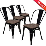 LCH Industrial Metal Vintage Stackable Dining Chairs, Set of 4 Indoor/Outdoor Rustic Bistro Cafe Chairs with Wood Seat and Back, 500LB Limit, Black For Sale